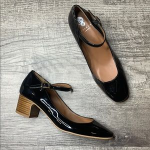H By HUDSON   Black Patent Leather Mary Jane Heels